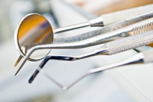 dental tools laying on a tray